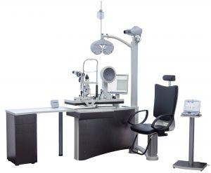 Die Refraktionseinheit Concepta von OCULUS - Der Grundkorpus besteht aus einem Schwenk-Schiebetisch für zwei Geräte und einer Schublade zur Aufnahme eines Messgläsersatzes. Das hier gezeigte Bild ist ein Austattungsbeispiel.