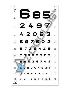 Sehprobentafel mit Optotypen Zahlen, in Plastik eingeschweißt, Visus = 0,125–1,0