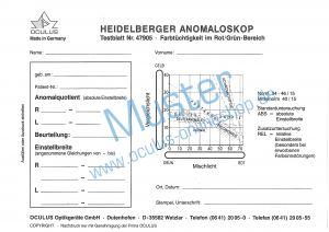 Auswerteblöcke zum Heidelberger Anomaloskop