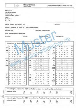 Satz Testblöcke für Binoptometer® I Testscheibe 59700
