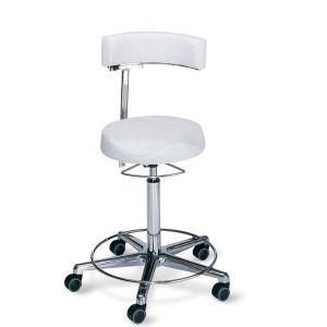 Arbeitsstuhl mit anatomisch geformter Sitzkante, mit Fußring