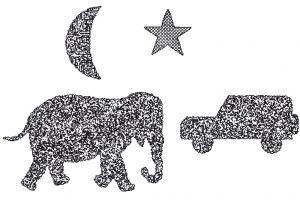 """Der LANG-Stereotest II® zeigt einen Elefanten (600""""), einen Geländewagen (400""""), einen Mond (200"""") und zusätzlich noch einen Stern (200"""") als monokular sichtbares Objekt."""